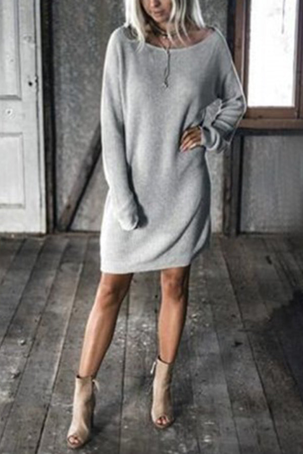 Solid Crew Neck Long Sleeves Casual Mini Dress