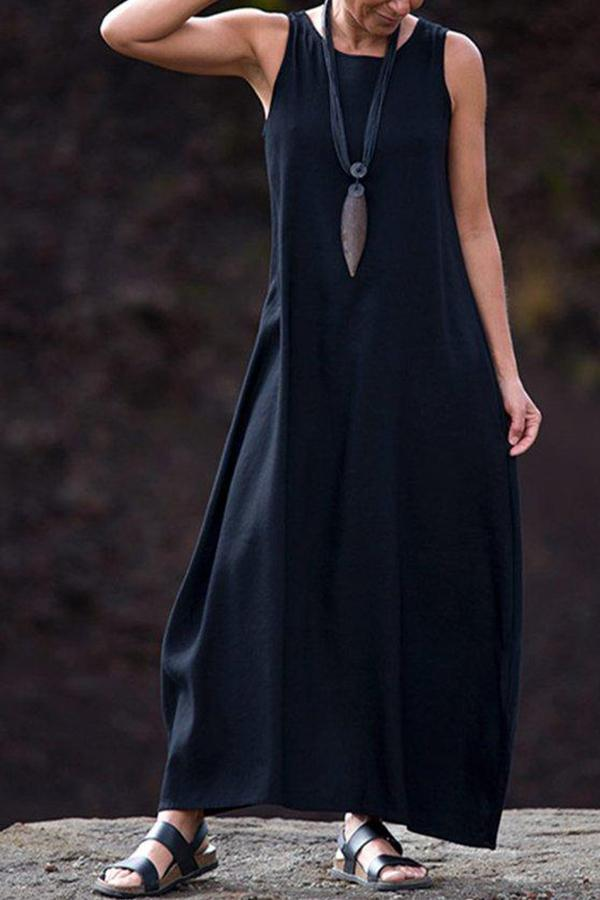 Casual Solid Sleeveless Crew Neck Maxi Dress