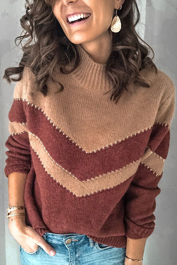 Color Block Stand Collar Casual Knitted Sweater