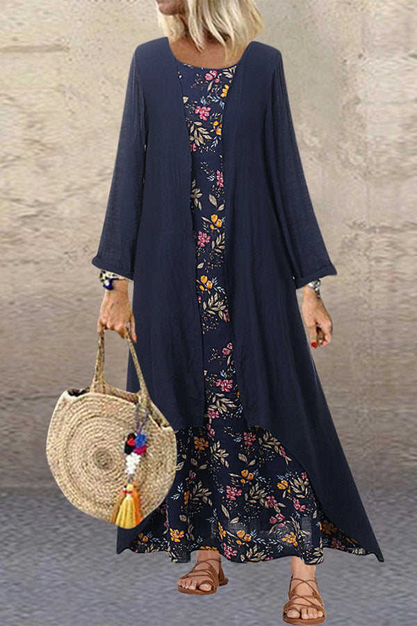 Floral Dress With Solid Coat Two-Pieces Set