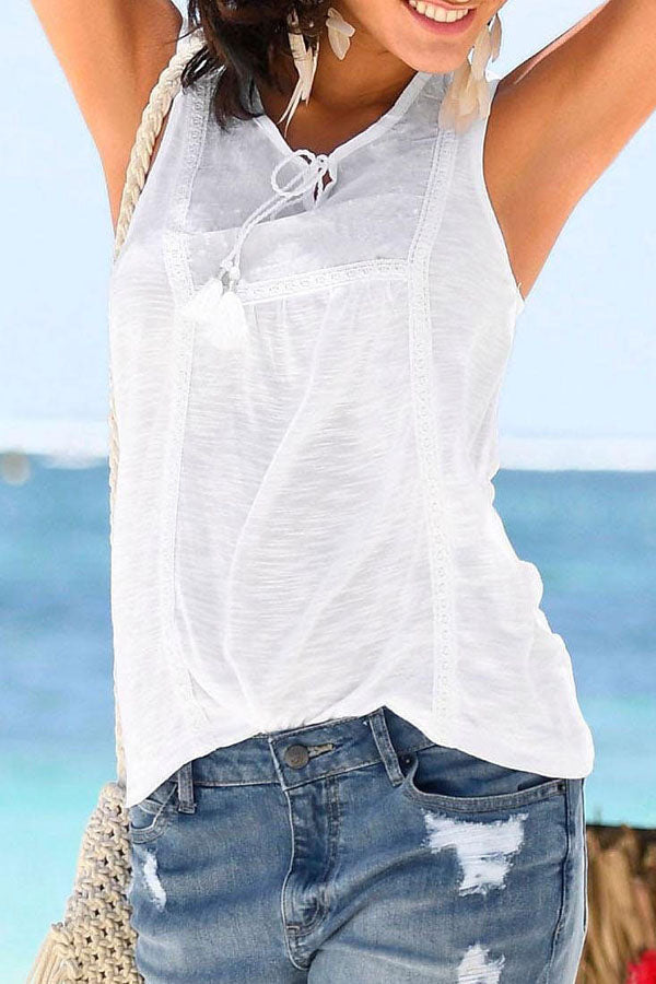 Solid Sleeveless Drawstring V-neck Casual T-shirt