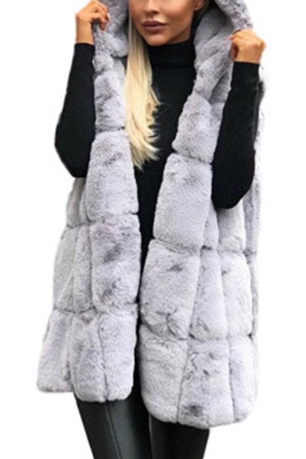 Solid Faux Fur Hooded Sleeveless Coat
