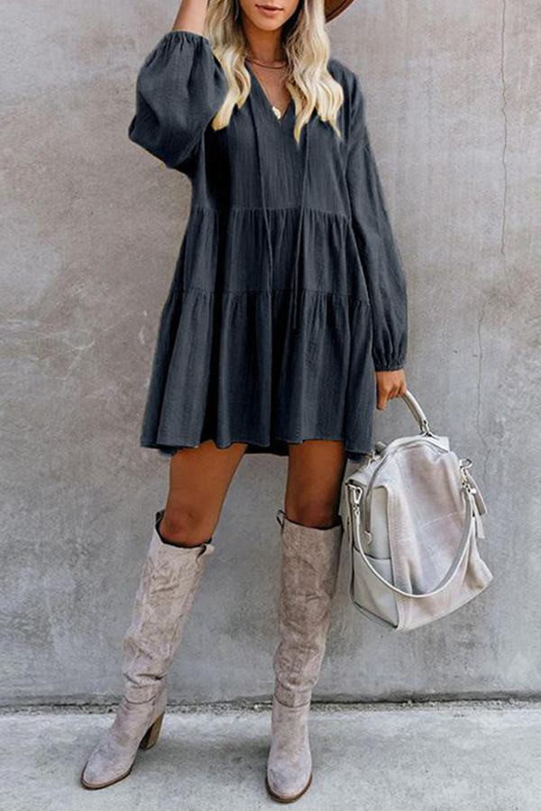 Paneled Solid Folds V-neck Holiday Mini Dress