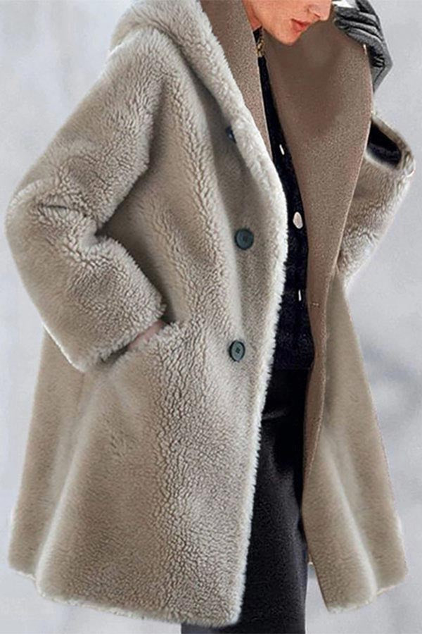 Casual Solid Buttoned  Pockets Fuzzy Hooded Coat