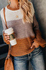 Crew Neck Long Sleeves Color-block Sweater