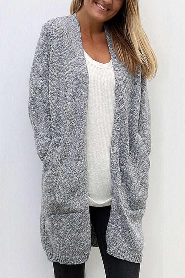Casual Solid Long Sleeves Pockets Cardigan