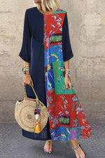 Color Block Floral Print Pocket Casual Maxi Dress