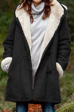 Casual Solid Pockets Buttoned Fleece Hooded Coat