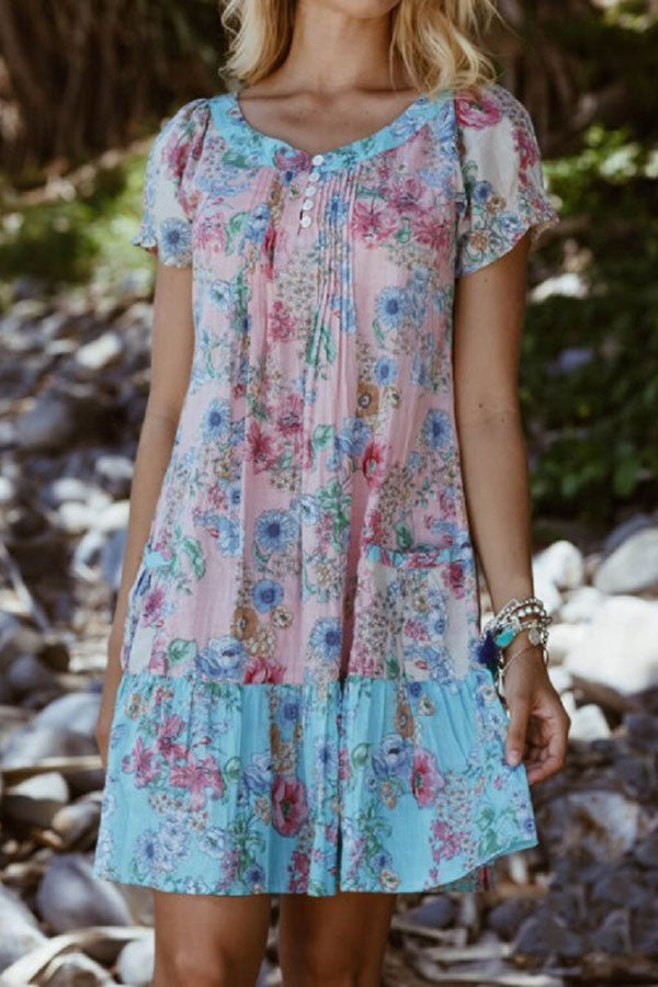 Floral Print Color-block Pleated Button Mini Dress