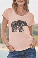 Bear Print Short Sleeves Casual T-shirt