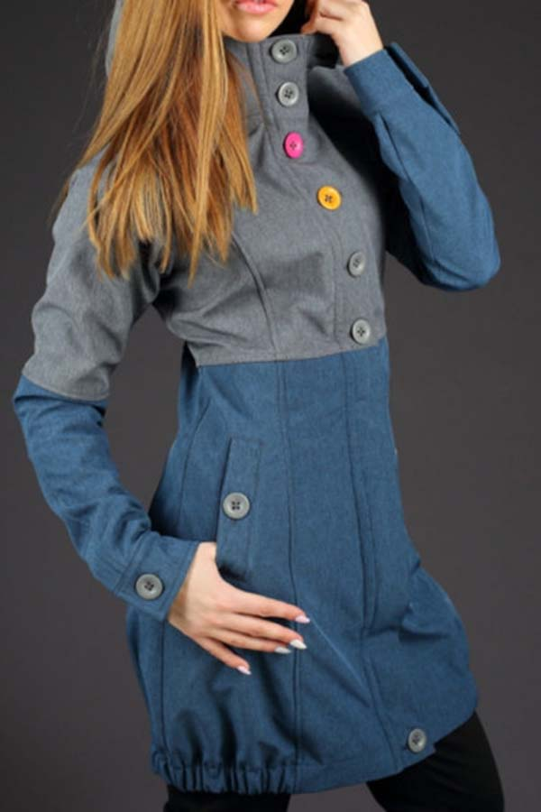 Paneled Color-block Buttoned Casual Hooded Coat