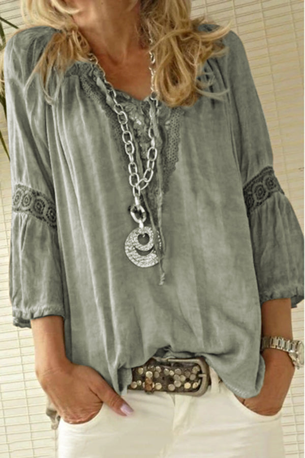 Paneled Lace Cutout V-neck Vintage Solid Shirt