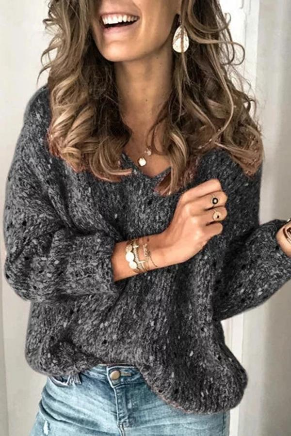 Women's Knitted Sweater V Neck Pullover Sweater