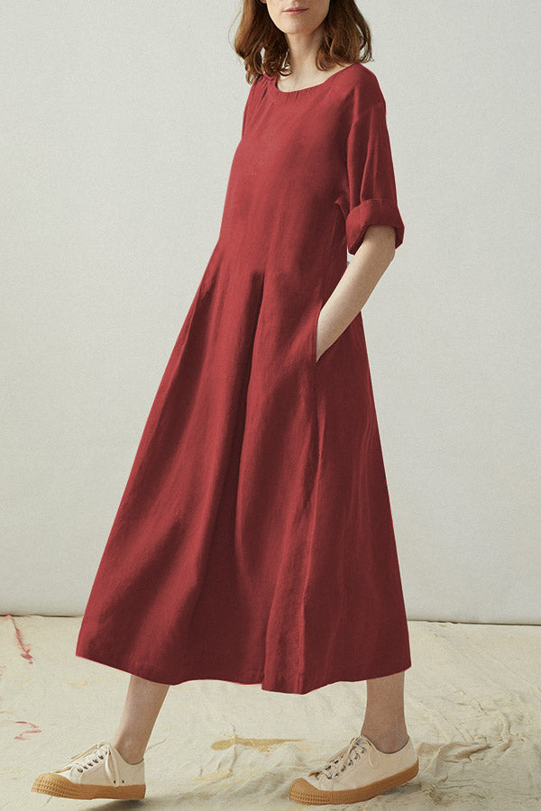 Half Sleeves Round Neck Loose Solid Midi Dress