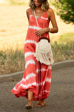Bohemian Gradient Print Sling Holiday Maxi Dress