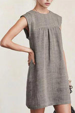Paneled Solid Pleated Sleeveless Casual Mini Dress
