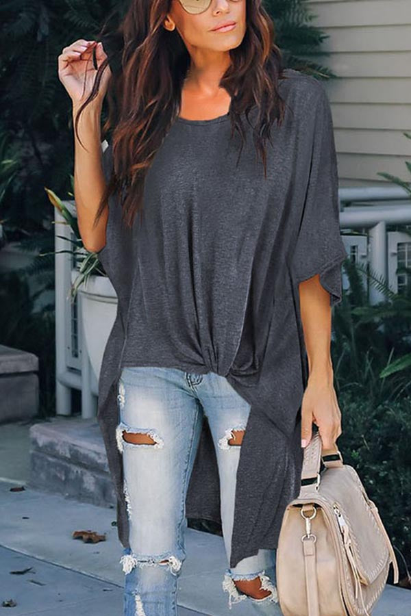 Solid Half Sleeves High Low Draped Casual T-shirt