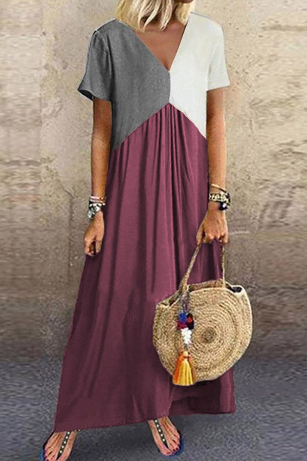 Color Block Paneled V-neck Casual Maxi Dress