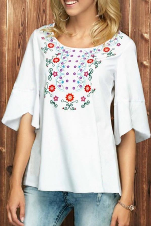 Floral Print Casual Paneled Half Sleeves T-shirt
