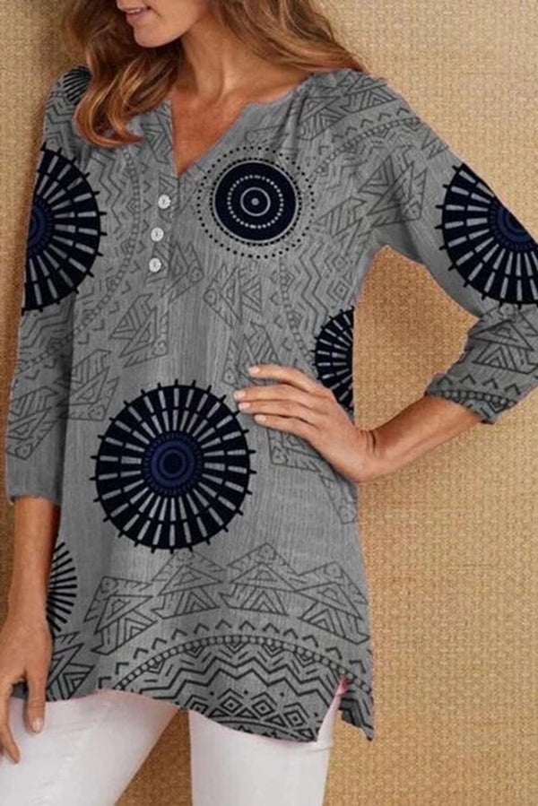 Graphic Print V-neck 3/4 Sleeves Casual Blouse