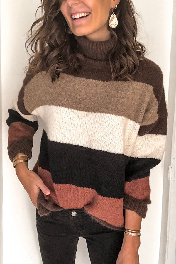 Color Block Turtleneck Knitted Casual Sweater