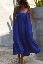 Paneled Solid Sling Pleated Holiday Maxi Dress
