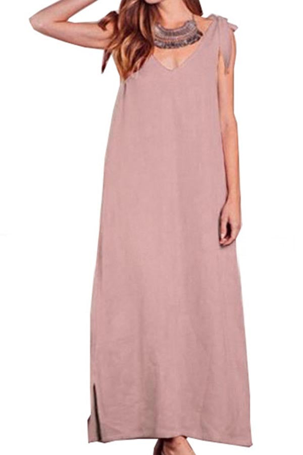 Solid Backless Casual Sleeveless Tie Maxi Dress