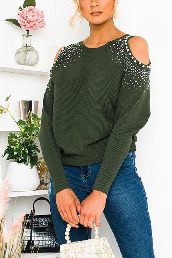 Beaded Cold Shoulder Ribbed Casual T-shirt