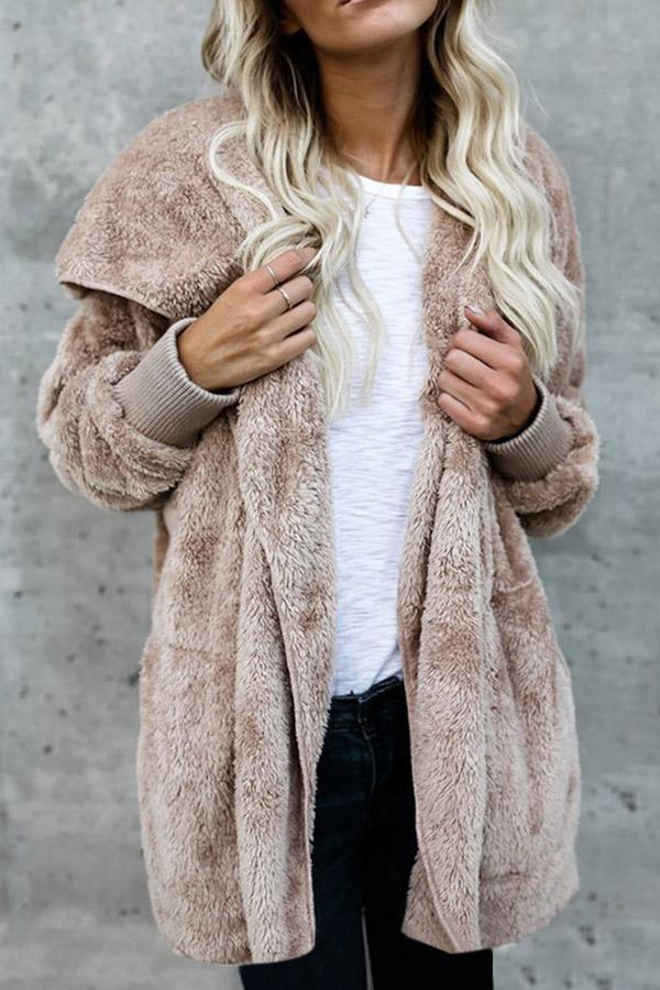 Solid Warm Hooded Faux Fur Coat