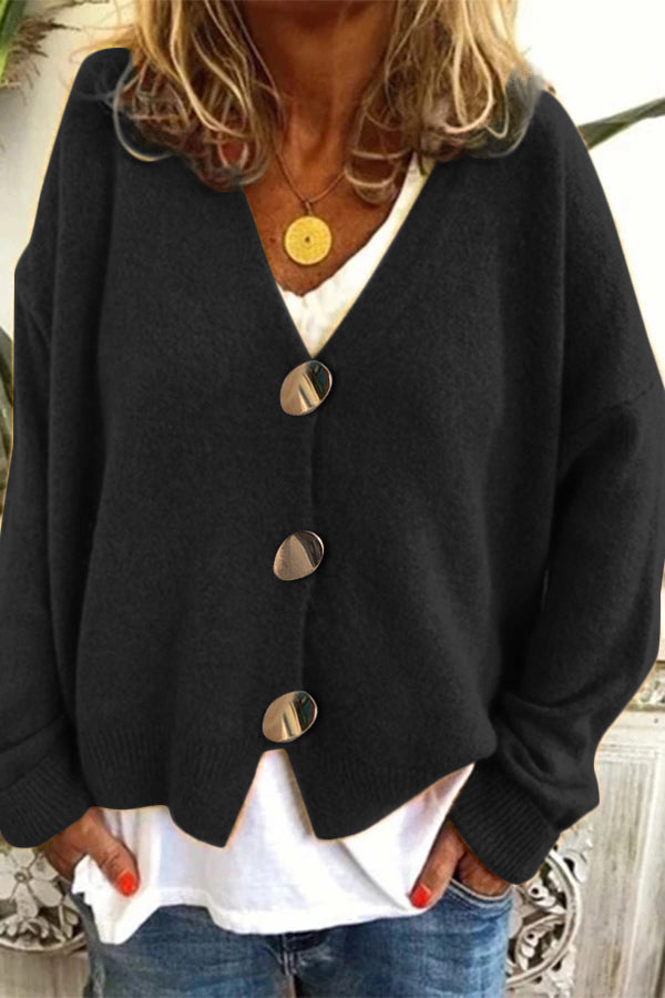 Knitted Buttons Down V-neck Fuzzy Cardigan