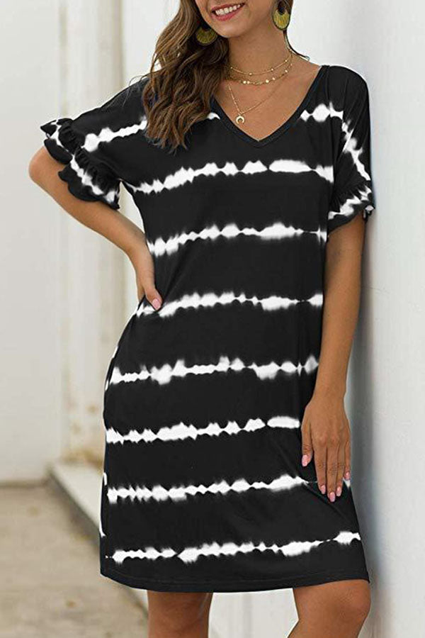 Striped Gradient Print V-neck Casual Mini Dress