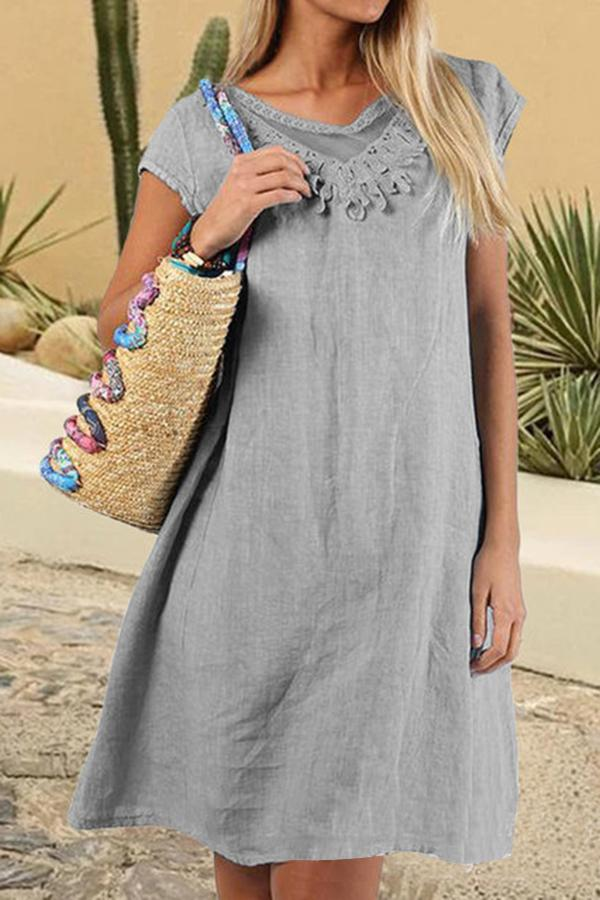 Crew Neck Short Sleeve Casual Midi Dress