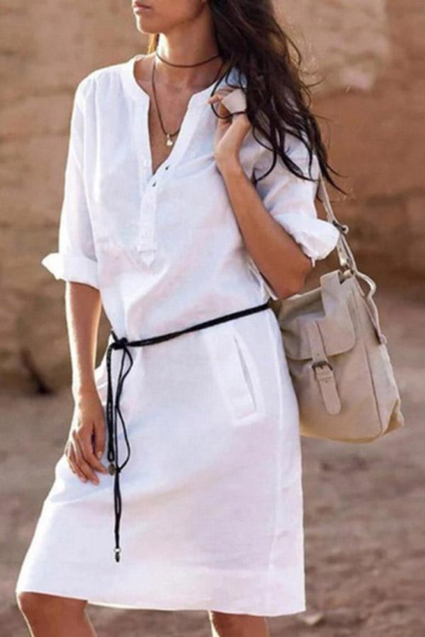Linen Solid Casual Half Sleeves Midi Dress