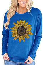 Sunflower Print Long Sleeves Crew Neck T-shirt