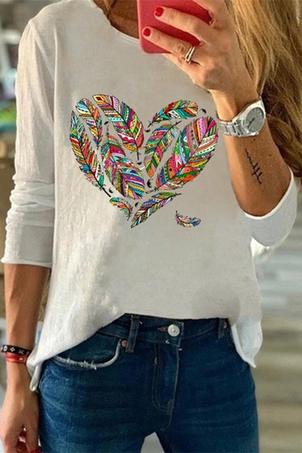 Leaf Heart Print Long Sleeves Casual T-shirt
