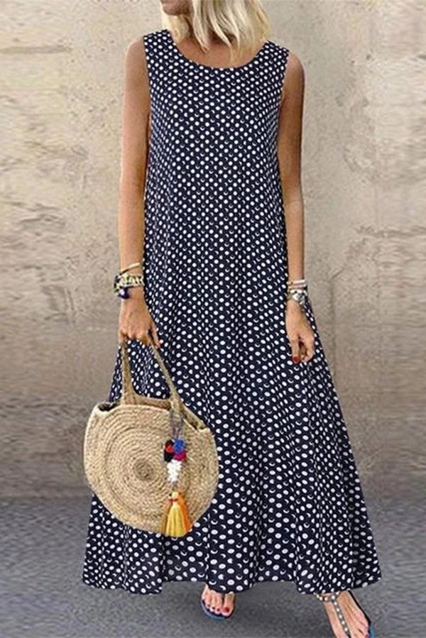 Polka Dots Print Sleeveless Casual Maxi Dress