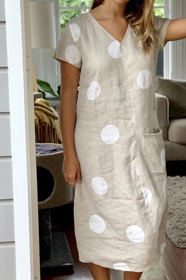 Polka Dots Print V-neck Pockets Casual Midi Dress