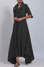 Solid Paneled Irregular Pile Neck Maxi Dress