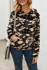 Camouflage Print Zipper Front Casual Hooded Coat