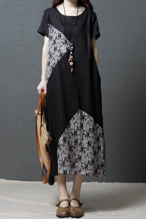 Color Block Tree Print Short Sleeves Midi Dress