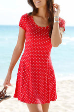 Polka Dot Print Holiday A-line Mini Dress