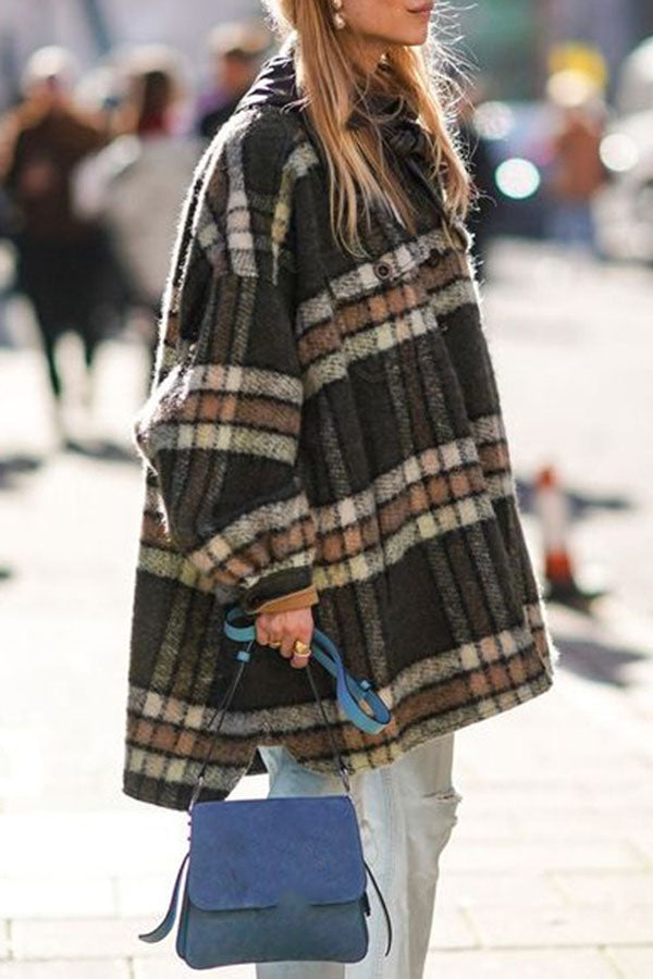 Paneled Plaid Side Pockets Buttoned Casual Coat