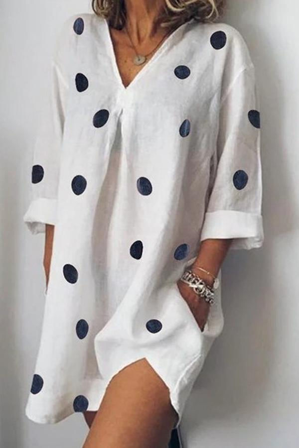 Casual V Neck Polka Dots Mini Dress