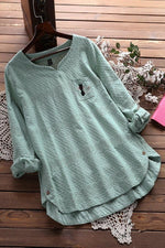 Solid Long sleeves Cat Embroidery High Low Blouses
