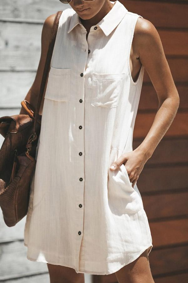 Buttoned Shirt Collar Sleeveless Mini Dress