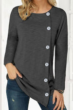 Paneled Solid Buttoned Irregular Casual T-shirt