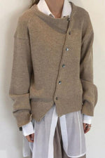 Buttons Down Paneled Solid Ribbed Knitted Cardigan