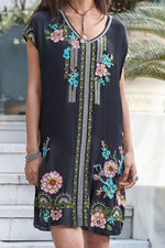 Floral Embroidery V-neck Vintage Mini Dress