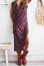 Print Knot Front Sleeveless Slit Maxi Dress