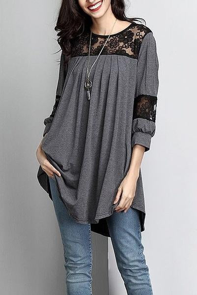 Casual Lace Paneled 3/4 Sleeves T-shirts